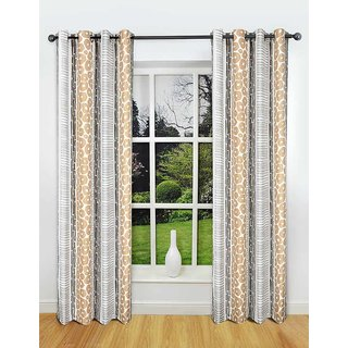 Rosara Freshford Polyester Grey-White Printed Eyelet Curtain Set Of 2