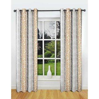 Rosara Freshford Polyester Grey-White Printed Eyelet Curtain Set Of 6