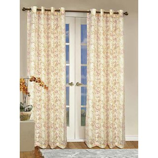 Rosara Aviary Polycotton Red Printed Eyelet Curtain