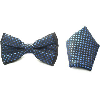 Black blue polka dots micro bowtie with matching pocket square