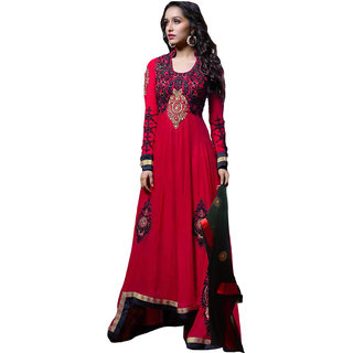 Saryu E Fabric Anarkali Gown For Women Color Red