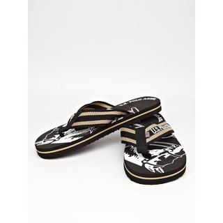 US POLO FOOTWEAR Printed Flip Flops With Fabric Straps