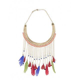 The Turq Connection Multicolour Feather Necklace