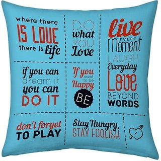Little India Blue Designer Romantic Print Filled Cushion 245