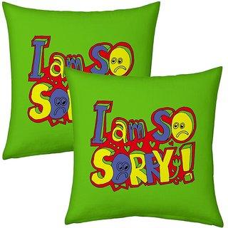 Little India Green Designer Romantic Printed Cushions Pair 2722
