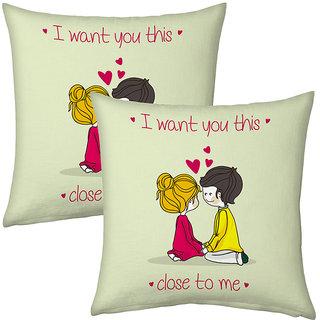 Little India Green Designer Romantic Printed Cushions Pair 2742