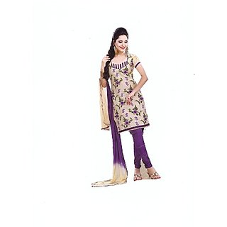 Ladies Printed Cotton Dress Material In White Colour With Voilet Churidar.