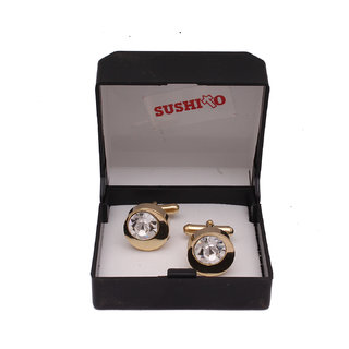 Sushito Stone Studded Round Fancy Cufflink JSMFHMA0798