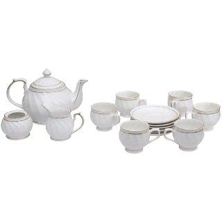 Pearl Tableware Serving Tea Set Tea kettle Tea pot(15 Pcs Set)