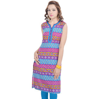 Rangeelo Rajasthan Womens Printed Straight Cotton kurti-RAR105PINK