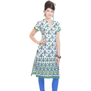 Rangeelo Rajasthan Womens Printed Straight Cotton kurti-RAR107BLUE