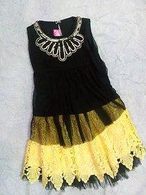 Black Top Attach Cream Skirt For Girls