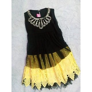 Black Top Attach Cream Skirt For Girls