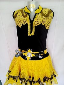 Black Smooth Top Attach Yellow Skirt