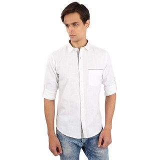 9fff368c04f0 Buy Mens White Semi Casual Cotton Shirt Online   ₹800 from ShopClues