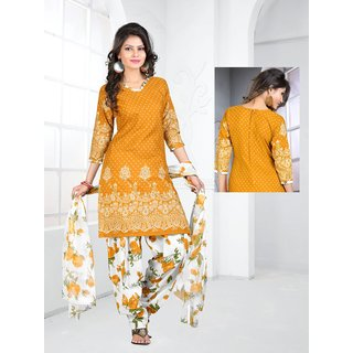 Trendz Apparels Orange Cotton Patiala Salwar Suit (Unstitched)