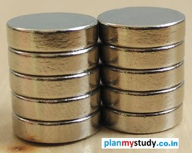 Neodymium N52 Grade Super Strong Magnet 12x3 mm, Type Cylindrical, Set of 10
