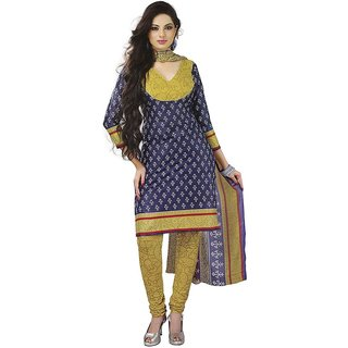Ladies Cotton Unstitched Dress Material In Blue  Green Colour With Dupatta