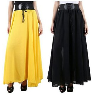 Raabta yellow  Black Long skirt with Belt set of two