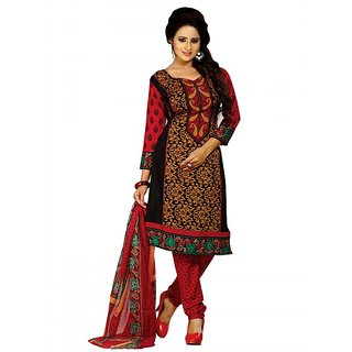 Pari Online Black & Red Color Crape Printed Dress Material