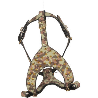 PET CLUB51 HIGH QUALITY IMPORTED LEATHER HARNESS-MEDIUM-ARMY