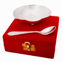 Silver Polished Oval Shape Brass Bowl N Spoon