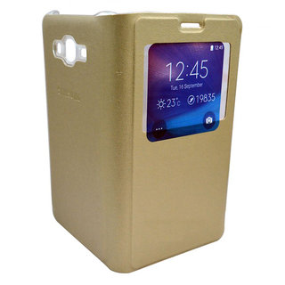 Snaptic Golden Leather S View Flip Cover for Samsung Galaxy J5
