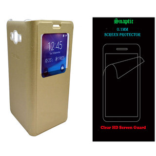 Snaptic Golden Leather S View Flip for Samsung Galaxy J5 with Screen Guard