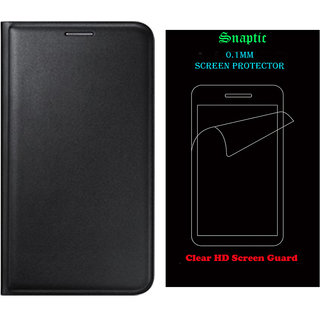 Snaptic Black Leather Flip for Samsung Galaxy J5 with Screen Guard