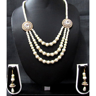 Pearl 3 line 2 brooch necklace set