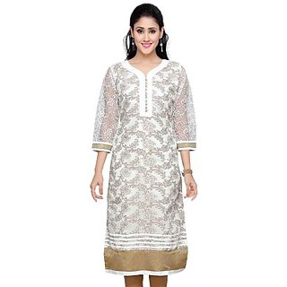 ALC Creations Casual, Festive, Wedding Self Design, Floral Print Womens Kurti