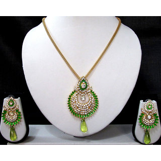 Green drop long chain pendant necklace set