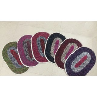 Akash Ganga Multi-Colour Door Mats (Set of 6)