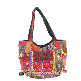 Jaipur Textile Hub Traditional Kantha Banjara Handbag(Multicolor)