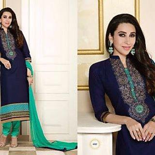 Trendz Apparels Purple Cotton Straight Fit Salwar Suit (Unstitched)