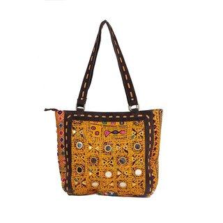 Jaipur Textile Hub Traditional Gujrati Fabric Embordried Mirror Work Handbag(Multicolor)
