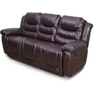 Idea Woods Optima Three-Seater Recliner With Brown Upholstery