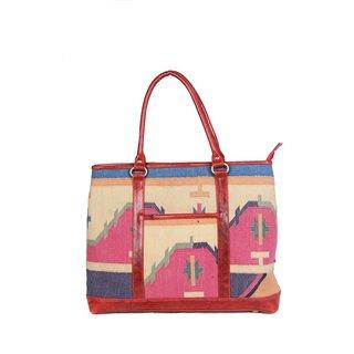 Jaipur Textile Hub Jaipur Textile Hub Traditional Rugs Made Handbag(Multicolor)