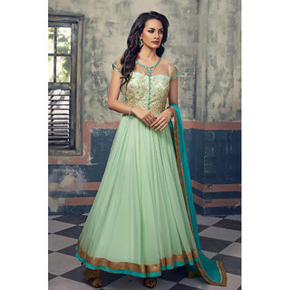 Finedeal Pista Green Net Embroidered Anarkali Salwar Suit Dupatta Material SF374