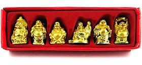 Krish Vastu / Fang shui / 6 pcs laughing buddha happy man for wealth gift pack