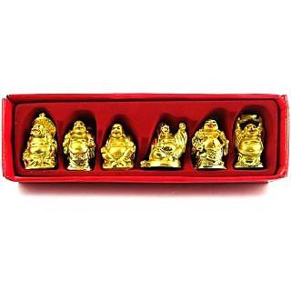 Nitin Vastu / Fang shui / 6 pcs laughing buddha happy man for wealth gift pack