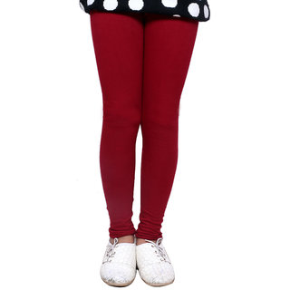 IndiWeaves Girls Super Soft Cotton Maroon Leggings