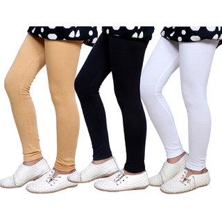 Indiweaves Girls Super Soft Cotton Leggings Combo 3-(714010503-IW)
