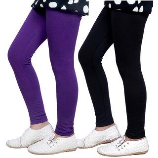 Indiweaves Girls Super Soft Cotton Leggings Combo 2-(7140271405-IW)