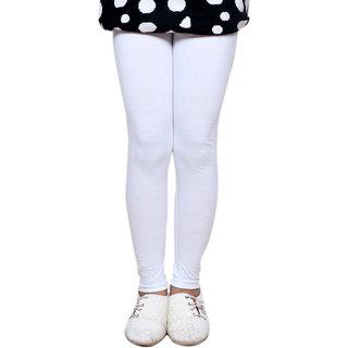 IndiWeaves Girls Super Soft Cotton White Leggings