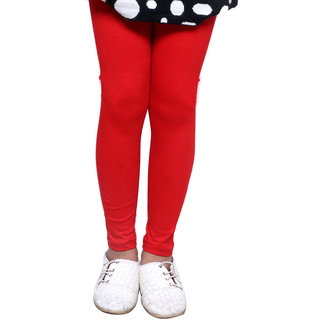 IndiWeaves Girls Super Soft Cotton Red Leggings