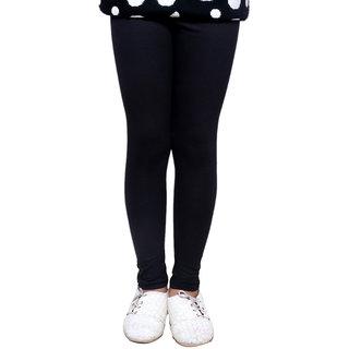 IndiWeaves Girls Super Soft Cotton Black Leggings