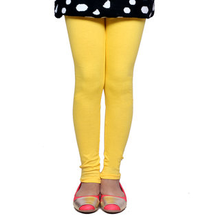 IndiWeaves Girls Super Soft Cotton yellow Leggings