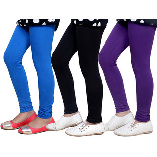 Indiweaves Girls Super Soft Cotton Leggings Combo 3-(714090502-IW)