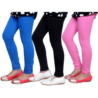 Indiweaves Girls Super Soft Cotton Leggings Combo 3-(714090508-IW)
